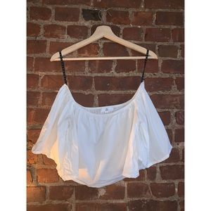 Misguided White Off-the-shoulder Crop Top